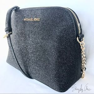 adbbc6591943 Michael Kors Bags - New MK Cindy dome glitter leather Crossbody black